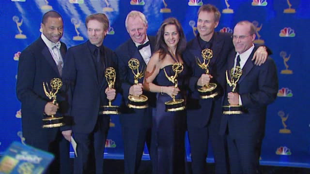 Jerry Bruckheimer and crew of 'The Amazing Race' winner Outstanding RealityCompetition Program at the 2006 Emmy Awards press room at the Shrine...