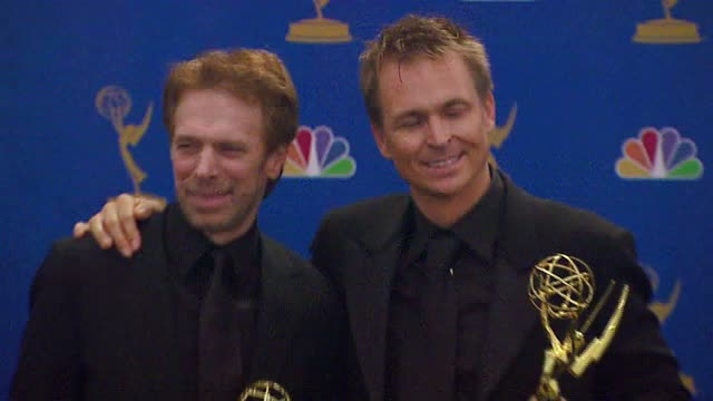 Jerry Bruckheimer and Phil Keoghan of 'The Amazing Race' winners Outstanding RealityCompetition Program at the 2006 Emmy Awards press room at the...
