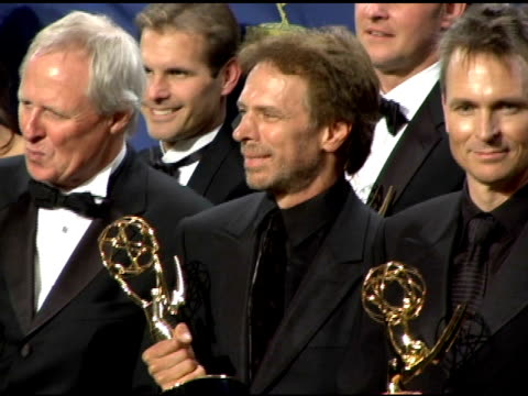 Jerry Bruckheimer and producers 'The Amazing Race' at the 2005 Emmy Awards press room at the Shrine Auditorium in Los Angeles California on September...