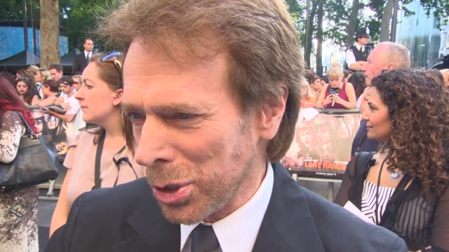 interview jerry bruckheimer at the lone ranger at odeon leicester square on july 21 2013 in london england - the lone ranger 2013 film stock videos and b-roll footage