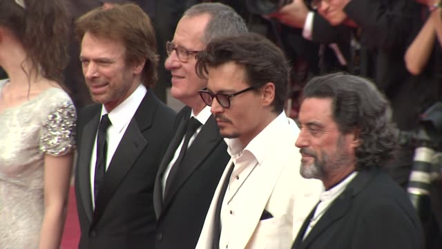 Jerry Bruckheimer Geoffrey Rush Johnny Depp Ian McShane at the Pirates of the Caribbean On Strange Tides 64th Cannes Film Festival Red Carpet...