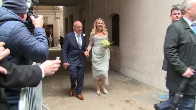 Jerry Hall and Rupert Murdoch at the wedding of Jerry Hall and Rupert Murdoch on March 05 2016 in London England