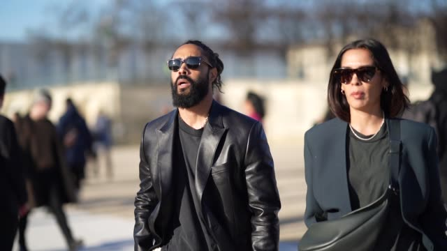 jerry lorenzo founder of fear of god wears a black leather jacket a tshirt white pants shoes sunglasses outside vuitton during paris fashion week... - paris fashion week stock videos & royalty-free footage