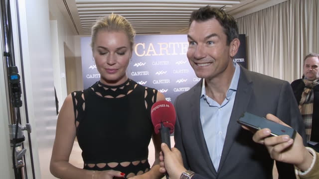 stockvideo's en b-roll-footage met jerry o'connell and rebecca romijn attend 'carter' presentation at hotel urso in madrid - rebecca romijn