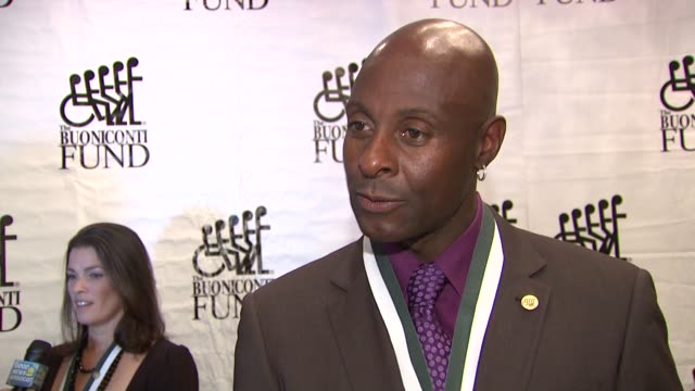 Jerry Rice talks about current season of dancing with the stars at the The 26th Annual Sports Legends Dinner At The Waldorf Astoria In NYC...