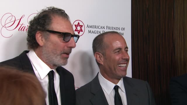 jerry seinfeld and michael richards at american friends of magen david adom's red star ball at the beverly hilton hotel on october 22, 2015 in... - the beverly hilton hotel stock videos & royalty-free footage