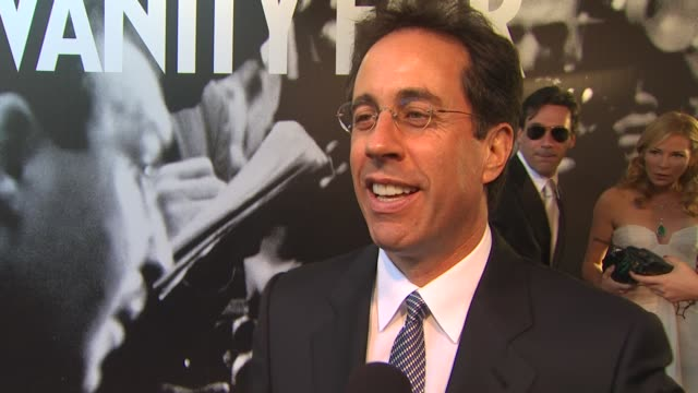 jerry seinfeld jokes that the oscars ruin lives and make people feel bad for themselves on who is rooting for at the 2010 vanity fair oscar party... - graydon carter stock videos and b-roll footage