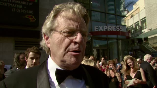 jerry springer on the event putting on a tux if he danced at his daughter's wedding why he thinks 'the view' is a great show taking rosie o'donnell's... - awards ceremony stock videos and b-roll footage