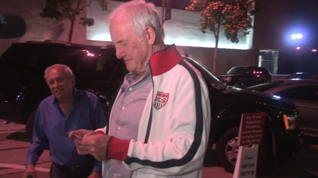 Jerry Weintraub greeting fans while departing Craigs at Celebrity Sightings in Los Angeles on May 31 2015 in Los Angeles California
