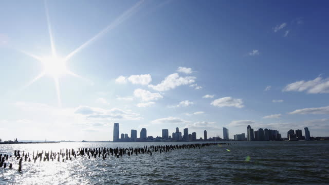 T/L WS Jersey City skyline across Hudson River / New Jersey, USA