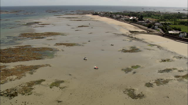 jersey coast - aerial view - helicopter filming,  aerial video,  cineflex,  establishing shot,  jersey - channel islands england stock videos & royalty-free footage