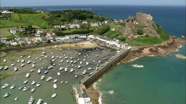 Jersey,  Mont Orgueil Castle - Aerial View - helicopter filming,  aerial video,  cineflex,  establishing shot