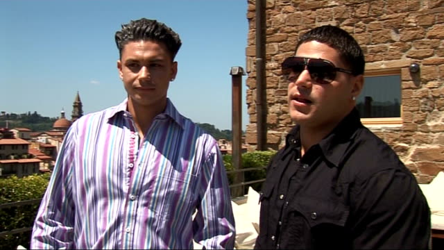'jersey shore' cast interviewed in florence delvecchio and ortizmagro interview sot on fights and the drama / on punching mike can't answer that / on... - cast member stock videos & royalty-free footage