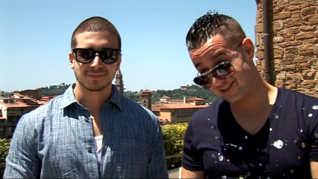 'jersey shore' cast interviewed in florence; sorrentino and guadagnino interview sot - on 'grenades' in italy - tried to stay away from them / on... - cast member stock videos & royalty-free footage