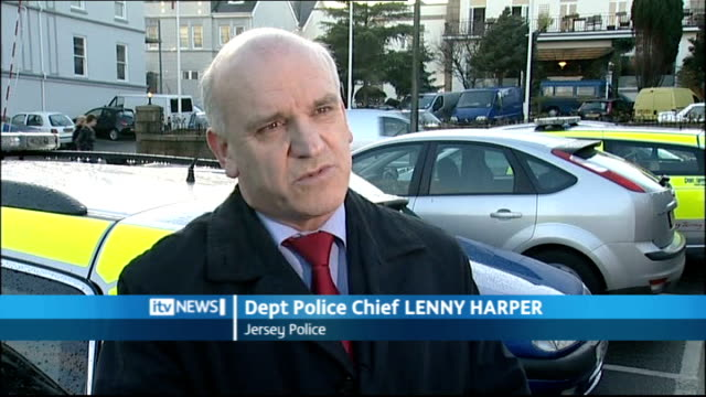 traces of blood found at former care home channel islands jersey st martin ext department police chief lenny harper interview sot - 警察署長点の映像素材/bロール