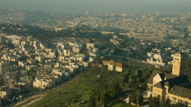 jerusalem aerial shot of augusta victoria - israel stock videos & royalty-free footage