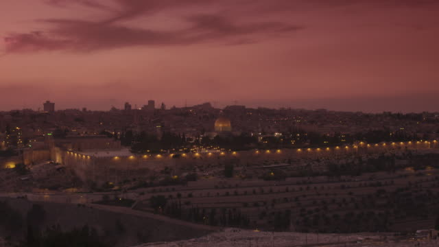 jerusalem at sunset - israel stock-videos und b-roll-filmmaterial