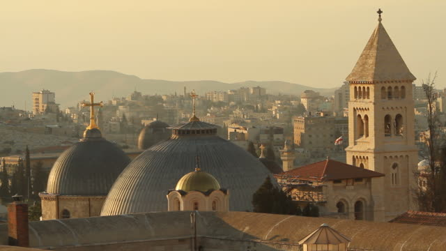 jerusalem churches with the west bank in background - middle east stock videos & royalty-free footage