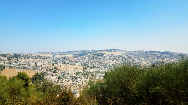 jerusalem cityscape of jerusalem with view of the old city - gerusalemme est video stock e b–roll