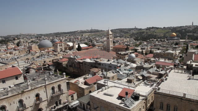 jerusalem, general view of the temple mount - via dolorosa stock videos & royalty-free footage