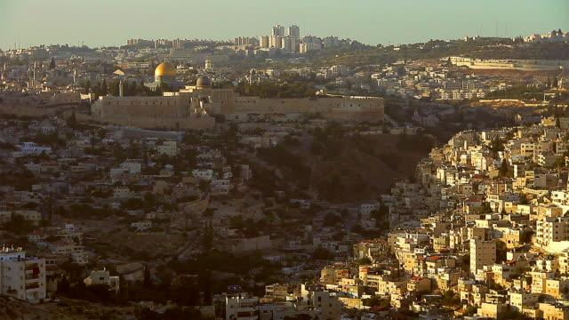 vidéos et rushes de jerusalem old city dusk - lieu d'habitation