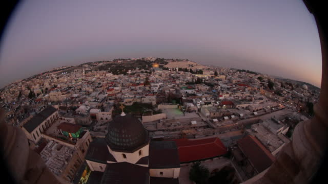 stockvideo's en b-roll-footage met jerusalem old city, sunset, landscape - groothoek