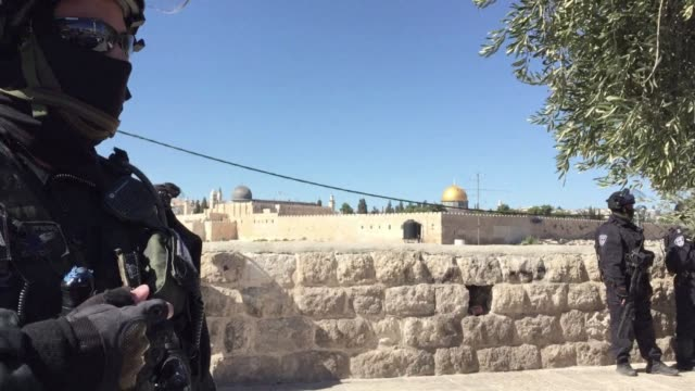jerusalem residents were preparing for another tense day after confrontations at the al aqsa mosque compound between israeli police and stone... - compounding stock videos and b-roll footage