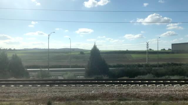 jerusalem tel aviv high speed rail makes its way through central israel - trasporto ferroviario video stock e b–roll