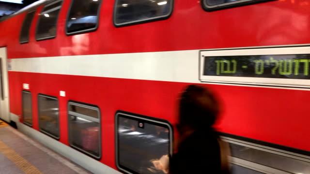 jerusalem tel aviv high speed rail originates at ben gurion airport on its way to navon station in jerusalem - rail transportation stock videos and b-roll footage