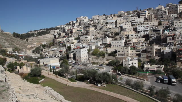 jerusalem, view of the silwan muslim village - via dolorosa stock videos & royalty-free footage