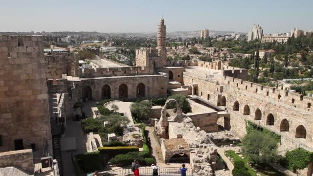 vidéos et rushes de jerusalem, view of the tower of david (migdal david), the jerusalem citadel - forteresse