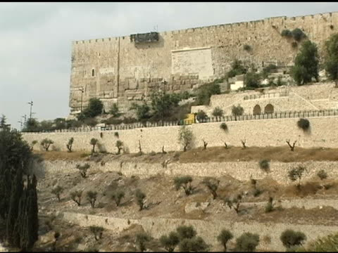 vidéos et rushes de jérusalem murs et sur la vallée et les oliviers - jérusalem