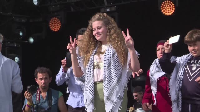 jerusalem will remain the capital of palestine ahed tamimi the palestinian teen who became a symbol of the israeli palestinian conflict speaks at the... - palestinian stock videos & royalty-free footage