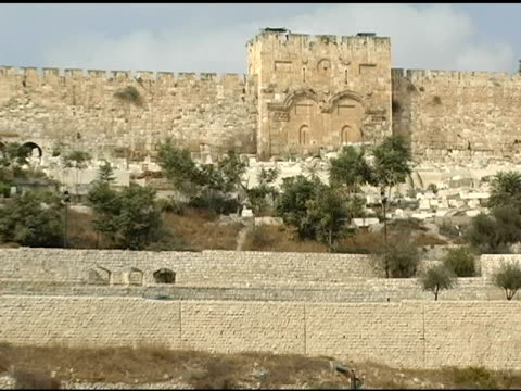jerusalem's golden gate and valley of olive trees - palestinian territories stock videos and b-roll footage