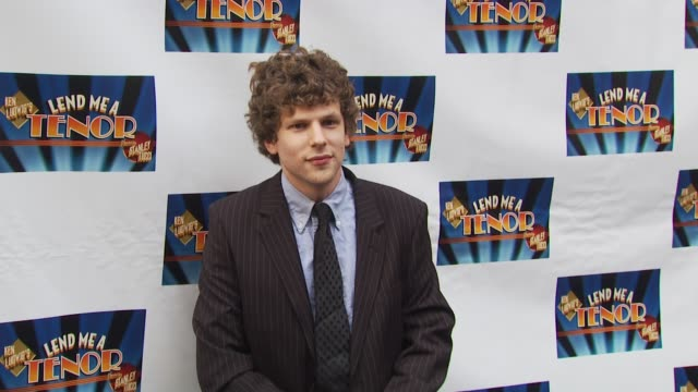 jesse eisenberg at the opening of 'lend me a tenor' arrivals at new york ny - lend me a tenor stock-videos und b-roll-filmmaterial