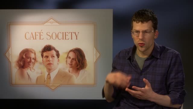 london int jesse eisenberg interview sot on comparisons to woody allen on what he misses about the uk when he leaves - woody allen stock videos & royalty-free footage