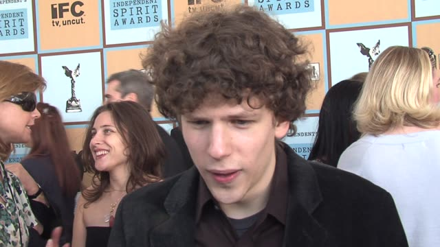 jesse eisenberg on his nervous behavior and on how this nomination feels compared to others at the the 21st annual ifp independent spirit awards in... - ifp independent spirit awards stock videos and b-roll footage