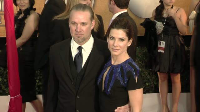 jesse james and sandra bullock at the 16th annual screen actors guild awards arrivals at los angeles ca - sandra bullock stock videos & royalty-free footage