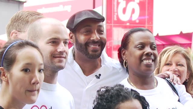 jesse martin and united healthcare volunteers at the 13th annual eif revlon run/walk for women at new york ny - revlon stock videos and b-roll footage