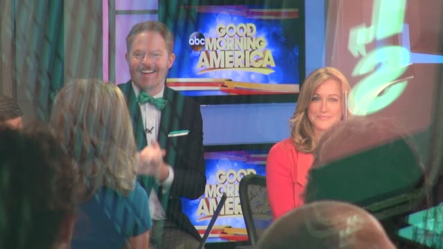 Jesse Tyler Ferguson and Eric Stonestreet on the Social Media set of the Good Morning America show Celebrity Sightings in New York on May 12 2014 in...