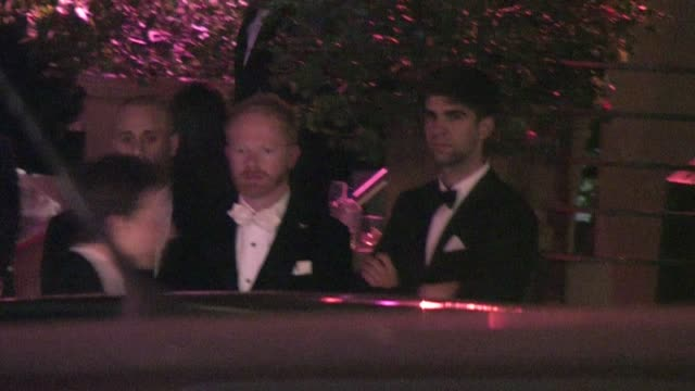 jesse tyler ferguson and justin mikita leaving sunset tower hotel in west hollywood - jesse tyler ferguson stock videos and b-roll footage