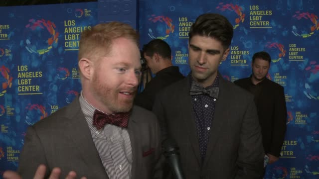 stockvideo's en b-roll-footage met interview jesse tyler ferguson and justin mikita on how it feels to be honored on why the los angeles lgbt center and their services are so vital to... - anniversary gala vanguard awards
