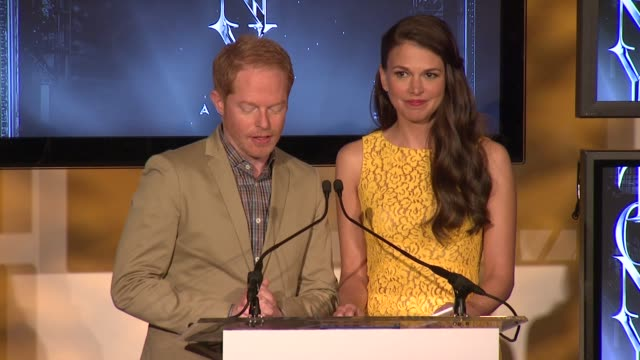 SPEECH Jesse Tyler Ferguson and Sutton Foster announce nominees for actor in a leading role in a musical and actress in a leading role in a musical...