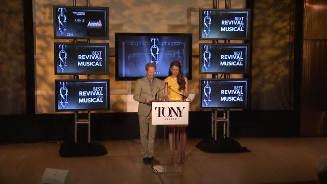 jesse tyler ferguson and sutton foster announce nominees for best revival of a play and best revival of a musical at 2013 tony award nominations at... - revival stock videos & royalty-free footage