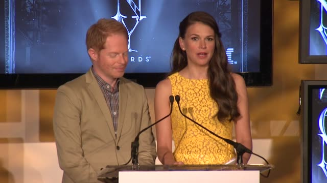 SPEECH Jesse Tyler Ferguson and Sutton Foster announce nominees for performance by actor and actress in a leading role at 2013 Tony Award Nominations...