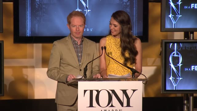 SPEECH Jesse Tyler Ferguson and Sutton Foster announce the nominees for actor and actress in a featured role at 2013 Tony Award Nominations at The...