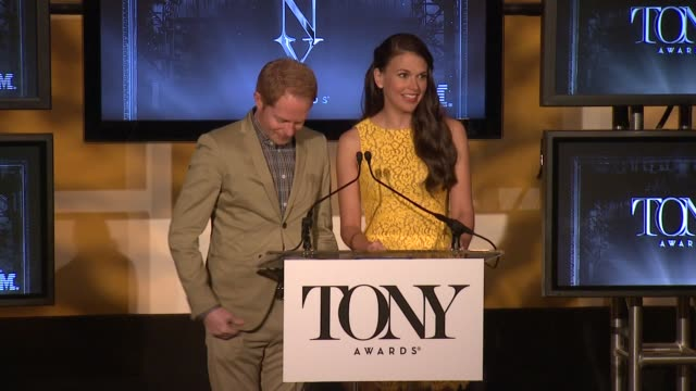 SPEECH Jesse Tyler Ferguson and Sutton Foster welcome the audience and say why they are here at 2013 Tony Award Nominations at The New York Public...