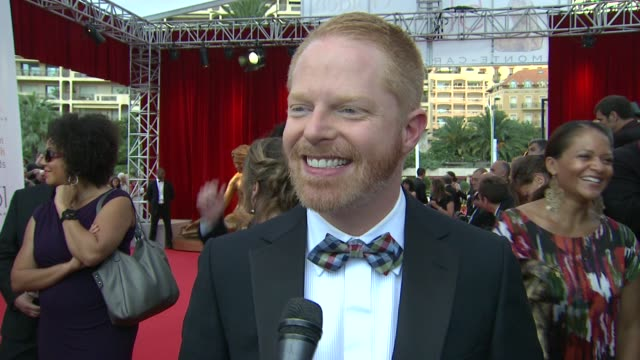 jesse tyler ferguson on how it feels to be on the red carpet at the 51st montecarlo television festival 2011 golden nymph awards at montecarlo - jesse tyler ferguson stock videos and b-roll footage