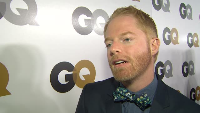 jesse tyler ferguson on what brings him out who he would nominate for a moty how he defines style designing his own line of bow ties his reaction to... - jesse tyler ferguson stock videos and b-roll footage