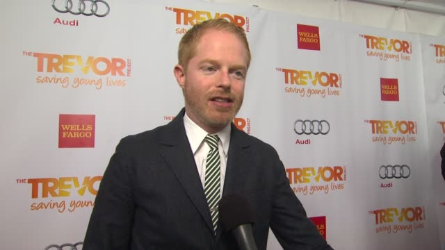 jesse tyler ferguson on why he supports the trevor project how he could have used the trevor project when he was younger what he is most looking... - the trevor project stock videos and b-roll footage